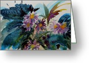 Aster  Painting Greeting Cards - Fairyland Asters Greeting Card by Beverley Harper Tinsley