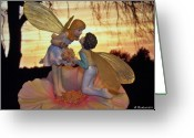 Fairy Statue Photo Greeting Cards - Fairys First Kiss Greeting Card by Betty Northcutt