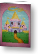 Childrens Artwork Drawings Greeting Cards - Fairytale Castle Greeting Card by Valerie Chiasson-Carpenter