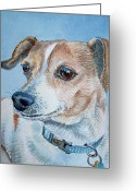 Pets Portraits Greeting Cards - Faithful Eyes Greeting Card by Irina Sztukowski