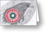 Falcon Drawings Greeting Cards - Falcon Spirit with Apache Design Greeting Card by Tony  Nelson