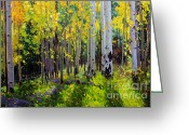 Sky Painting Greeting Cards - Fall Aspen Forest Greeting Card by Gary Kim