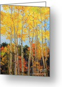 Landscape Posters Painting Greeting Cards - Fall Aspen Santa Fe Greeting Card by Gary Kim
