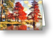 Swans Painting Greeting Cards - Fall at Swan Lake Greeting Card by Jai Johnson