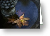 Fall Leaves Photo Greeting Cards - Fall At The Fountain Greeting Card by Rebecca Cozart