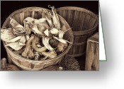 Wood Pyrography Greeting Cards - fall Basket of Vegetables - Sepia Greeting Card by Linda Phelps