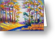 Woods Pastels Greeting Cards - Fall by the Stream Greeting Card by Cathy Harville
