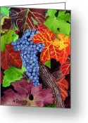 Cabernet Sauvignon Greeting Cards - Fall Cabernet Sauvignon Grapes Greeting Card by Mike Robles