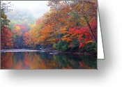 Williams Greeting Cards - Fall Color Williams River Mirror Image Greeting Card by Thomas R Fletcher