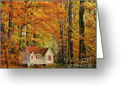 Yellow Trees Greeting Cards - Fall Cottage Greeting Card by Cheryl Young