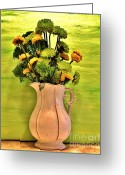 Pitcher Greeting Cards - Fall Flowers Greeting Card by Marsha Heiken