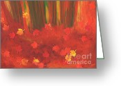 Red Leaves Pastels Greeting Cards - Fall Forest Floor by jrr Greeting Card by First Star Art