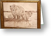 Framed Art Pyrography Greeting Cards - Fall Grizzly and Cub Greeting Card by Angel Abbs-Portice
