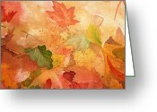 Thanksgiving Art Greeting Cards - Fall Impressions IV Greeting Card by Irina Sztukowski