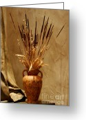 Thanksgiving Art Greeting Cards - Fall in a Vase Still-Life Greeting Card by Christine Till