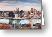 Pittsburgh Skyline Greeting Cards - Fall in Pittsburgh  Greeting Card by Emmanuel Panagiotakis
