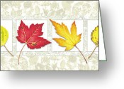 Autumn Season Greeting Cards - Fall Leaf Panel Greeting Card by JQ Licensing