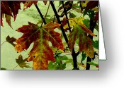 Reds Mixed Media Greeting Cards - Fall Leaves Greeting Card by Julie  Grace