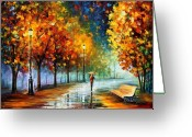 Afremov Greeting Cards - Fall Marathon Greeting Card by Leonid Afremov