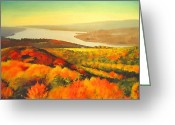 Poster Mixed Media Greeting Cards - Fall On Hudson River - New York State Greeting Card by Dan Haraga