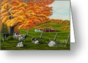 Changing Colors Greeting Cards - Fall on the Farm Greeting Card by Charlotte Blanchard