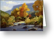 Rocks Prints Mixed Media Greeting Cards - Fall on the Pecos River Greeting Card by Thomas Wezwick