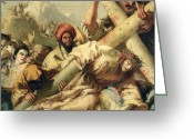 Way Of The Cross Greeting Cards - Fall on the way to Calvary Greeting Card by G Tiepolo