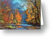 Pennsylvania  Greeting Cards - Fall On The Wissahickon Greeting Card by Photograph by John Couture