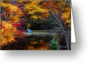 Rowboat Greeting Cards - Fall Pond and Boat Greeting Card by Tom Mc Nemar