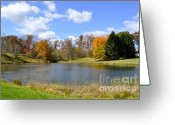 Lake With Reflections Greeting Cards - Fall Pond Greeting Card by Penny Neimiller