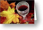 Exclusive Greeting Cards - Fall Red Wine Greeting Card by Carlos Caetano