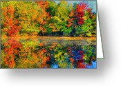 Water Scenes Greeting Cards - Fall Reflected  Greeting Card by Emily Stauring