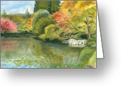 Red Fall Colors Greeting Cards - Fall Reflections Butchart Gardens Greeting Card by Vidyut Singhal