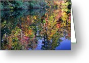 Fall Scenes Greeting Cards - Fall Reflections Greeting Card by Larry Bishop