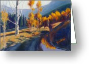 Expressive Pastels Greeting Cards - Fall Reflections Greeting Card by Zanobia Shalks