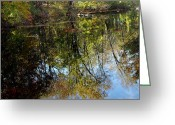 Fall River Scenes Greeting Cards - Fall Sand Bar Reflections Greeting Card by LeeAnn McLaneGoetz McLaneGoetzStudioLLCcom