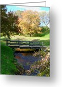 Autumn Photographs Greeting Cards - Fall scene - Town Brook Greeting Card by Janice Drew