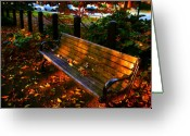 Fall Scene Greeting Cards - Fall scene and the bench in the park Greeting Card by Susanne Van Hulst
