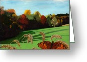 Fall Scene Greeting Cards - Fall scene of Ohio nature painting Greeting Card by Linda Apple