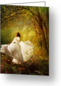 White Dress Greeting Cards - Fall Splendor Greeting Card by Karen Koski