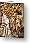 Head Piece Greeting Cards - Fall Greeting Card by Tisha McGee