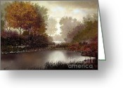 Autumnal Digital Art Greeting Cards - Fall Waters Greeting Card by Robert Foster