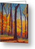 Autumn Landscape Pastels Greeting Cards - Fall Woods Greeting Card by Marion Derrett