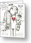 Street Art Drawings Greeting Cards - Fallen Angel Greeting Card by Robert Wolverton Jr