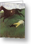 Running Horse Painting Greeting Cards - Fallen Jockey Greeting Card by Edgar Degas