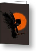 Angel Digital Art Greeting Cards - Fallen one Greeting Card by Budi Satria Kwan