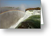 Zambia Photo Greeting Cards - Falling Down  Falls, Zambia Greeting Card by  Pascal Boegli