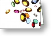 Illuminated Glass Greeting Cards - Falling Gems Greeting Card by Setsiri Silapasuwanchai