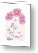 Pink Flower Prints Mixed Media Greeting Cards - Falling Hearts Greeting Card by Elorian Landers