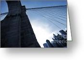 Gotham City Greeting Cards - Falling Lines - Brooklyn Bridge Greeting Card by Thomas Splietker